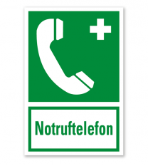Rettungszeichen Notruftelefon nach BGV A8 - E07 - Kombi