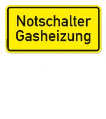 Textschild Notschalter Gasheizung
