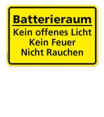 Textschild Batterieraum - Kein offenes Licht, kein Feuer, nicht Rauchen