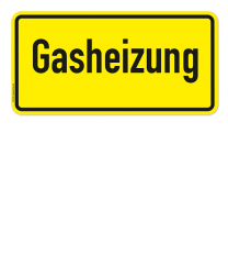 Textschild Gasheizung