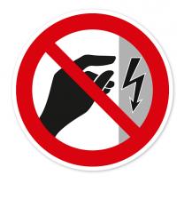 Verbotszeichen Nicht berühren, Gehäuse ist unter Spannung nach BGV A8 - P09