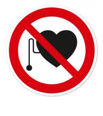 Verbotszeichen Verbot für Personen mit Herzschrittmacher nach BGV A8 - P11