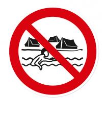 Verbotszeichen Baden und Lagern ist nicht gestattet