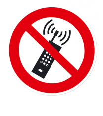 Verbotszeichen Eingeschaltete Mobiltelefone verboten nach DIN EN ISO 7010 - P 013