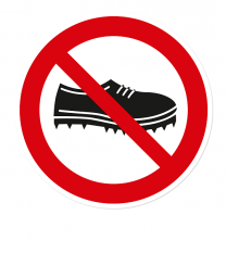 Verbotszeichen Schuhe mit Spikes verboten