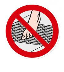 Verbotszeichen Gitter barfuß betreten verboten