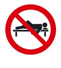 Verbotszeichen Auf der Bank schlafen verboten