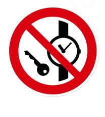 Verbotszeichen Mitführen von Metallteilen oder Uhren verboten nach DIN EN ISO 7010 - P 008