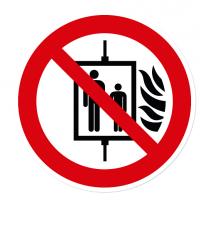 Verbotszeichen Aufzug im Brandfall nicht benutzen nach DIN EN ISO 7010 - P 020
