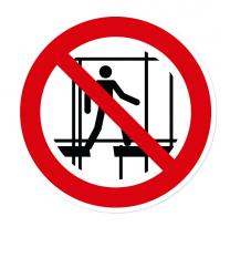 Verbotszeichen Benutzen des unvollständigen Gerüstes verboten nach DIN EN ISO 7010 - P 025