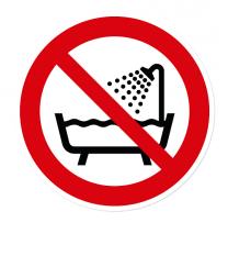 Verbotszeichen Verbot, dieses Gerät in der Badewanne zu benutzen nach DIN EN ISO 7010 - P 026