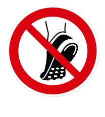 Verbotszeichen Metallbeschlagenes Schuhwerk verboten nach DIN EN ISO 7010 - P 035
