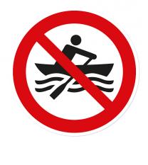 Verbotszeichen Muskelbetriebene Boote verboten nach DIN ISO 20712 - WSP008