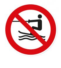 Verbotszeichen Wasserski-Aktivitäten verboten nach DIN ISO 20712 - WSP011