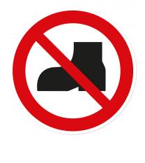 Verbotszeichen Tragen von Straßenschuhen verboten nach DIN ISO 20712 - WSP013