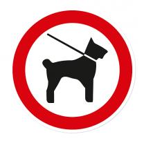 Verbotszeichen Hunde dürfen nur an der kurzen Leine mitgeführt werden