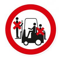 Verbotszeichen Mitfahren auf Flurförderzeug / Gabelstapler ist verboten