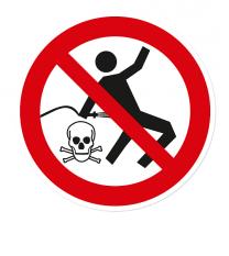 Verbotszeichen Kleiderreinigung mit Pressluft ist verboten