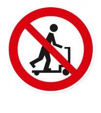 Verbotszeichen Rollerfahren auf Handhubwagen ist verboten