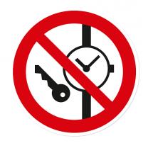 Verbotszeichen Mitführen von Metallteilen und Uhren ist verboten