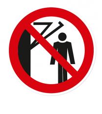 Verbotszeichen Nicht hinter den Schwenkarm treten