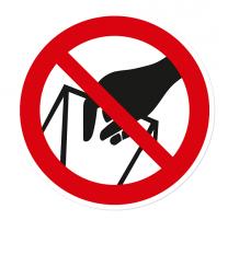 Verbotszeichen In die Schüttung greifen ist verboten