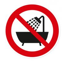 Verbotszeichen Verbot, dieses Gerät in der Badewanne zu benutzen nach DIN 4844-2