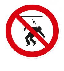 Verbotszeichen Starkstromkabel berühren verboten