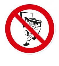 Verbotszeichen An den Basketballkorb hängen verboten