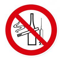 Verbotszeichen Rauchen, Drogen und Alkohol verboten