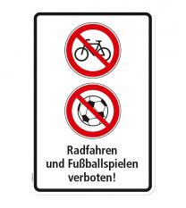 Verbotsschild Radfahren und Fußballspielen verboten