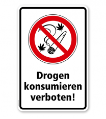 Verbotsschild Drogen konsumieren und Rauchen verboten