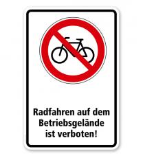 Verbotsschild Radfahren auf dem Betriebsgelände verboten