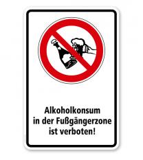 Verbotsschild Alkohol in der Fußgängerzone trinken verboten