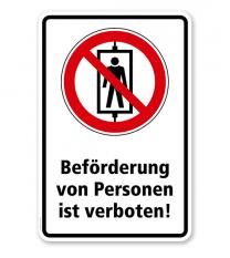 Verbotsschild Beförderung von Personen verboten