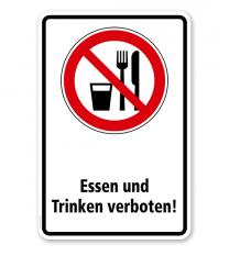 Verbotsschild Essen und Trinken verboten