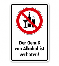 Verbotsschild Genuß von Alkohol verboten