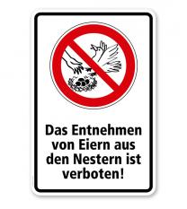 Verbotsschild Das Entnehmen von Eiern aus Nestern ist verboten