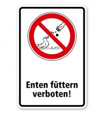 Verbotsschild Enten füttern verboten