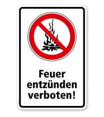 Verbotsschild Feuer entzünden verboten