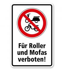 Verbotsschild Für Roller und Mofas verboten