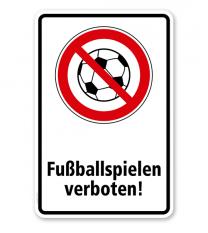 Verbotsschild Fußballspielen verboten