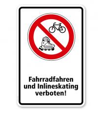Verbotsschild Fahrrad und Inlineskating verboten