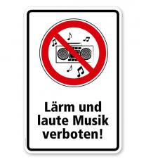 Verbotsschild Lärm und laute Musik verboten