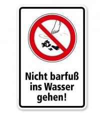 Verbotsschild Nicht barfuß ins Wasser gehen