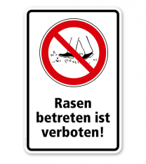 Verbotsschild Rasen betreten verboten