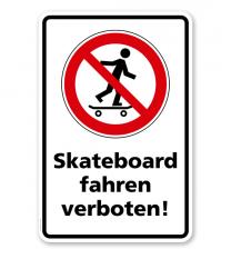 Verbotsschild Skateboard fahren verboten