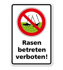Verbotsschild Rasen betreten verboten 2