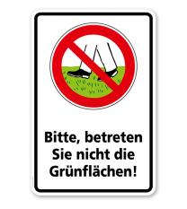 Verbotsschild Bitte betreten Sie nicht die Grünflächen