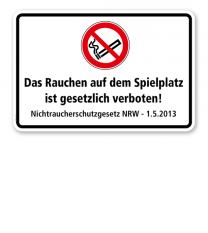 Verbotsschild Das Rauchen auf dem Spielplatz ist gesetzlich verboten - Nichtraucherschutzgesetz